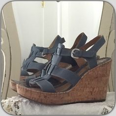 "Born Wedge Shoe Born 4"" wedge shoe size 9. Fits more like 8.5. Blue gray color and comfortable. Born Shoes Wedges"