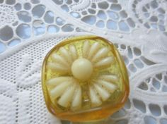 Vintage Button  1 Beautiful carved celluloid by pillowtalkswf, $6.95