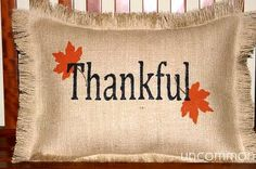 Burlap Pillows for Fall ~ What a quick and easy craft for Fall!