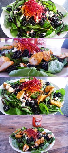 Blackberry Goat Cheese Salad. 300 Calories for a giant serving, or 450 calories if you add chicken. Low calorie, filling and delicious! Blackberries aren't just for desserts! Enjoy