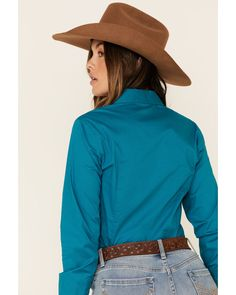 Cinch Women's Teal Solid Button Front Long Sleeve Western Shirt , Teal Country Wear, Button Down Collar, Western Shirts, Teal, Buttons, Long Sleeve, Sleeves, How To Wear, Long Dress Patterns
