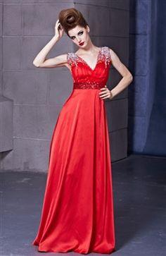 Red Illusion Beading V-Neck Elastic Silk-Like Satin Formal Dress  Style Code: 10546  US$164.00  #prom