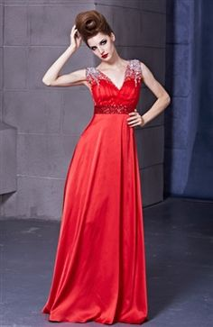 Red Illusion Beading V-Neck Elastic Silk-Like Satin Formal Dress  Style Code: 10546  US$164.00  #prom