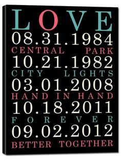 remind yourself of the special dates in your relationship with a darling keepsake canvas! love this.