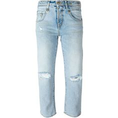 R13 distressed girlfriend cropped jeans ($145) ❤ liked on Polyvore featuring jeans, blue, destroyed jeans, blue ripped jeans, cropped jeans, distressing jeans and distressed jeans