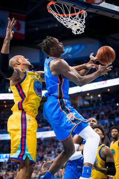 Jerami Grant of the Oklahoma City Thunder goes to the basket against the Golden State Warriors on April 3 2018 at Chesapeake Energy Arena in Oklahoma...