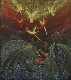Waldorf ~ 3rd grade ~ OT Stories ~ Michael's fight against the dragon ~ chalkboard drawing