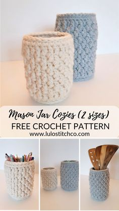 These Mason Jar Cozies are an ideal quick project and they look great in your home! The FREE PATTERN comes in 2 sizes and - 1 litre and litre) and fits either the standard mouth or wide mouth jars. Check out this free pattern and more at www Mason Jar Cozy, Mason Jars, Crochet Cozy, Free Crochet, Quick Crochet Gifts, Crochet Jar Covers, Thing 1, Crochet Home Decor, Crochet Kitchen