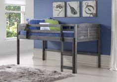 Instantly create more space in your son or daughter's room with our twin loft bed in antique grey! Our child loft bed has plenty of storage space underneath for toys, clothes, or extra bedding. The lo