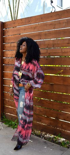 Style Pantry | Sheer Tie Dye Dress + Ripped Skinny Jeans
