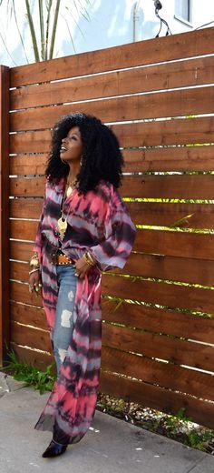 Style Pantry | Sheer Tie Dye Dress + Ripped Skinny Jeans