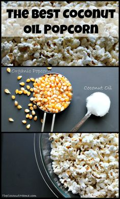 Coconut Oil Popcorn We are absolute popcorn lovers in our home. When we are craving a snack (or a Friday movie night at home), its off to the kitchen to make a batch of our homemade popcorn. It's such an easy to make snack and very healthy for both adults Yummy Snacks, Healthy Snacks, Yummy Food, Healthy Oils, Healthy Cooking, Real Food Recipes, Snack Recipes, Cooking Recipes, Healthy Popcorn Recipes
