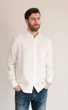   The Friend - Men's Proper Fit long sleeve cream linen button-up shirt   everyday essentials   Made in Canada   Power Of My People