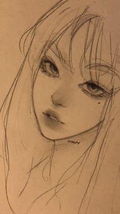 Art Drawings Sketches Simple, Pencil Art Drawings, Indie Drawings, Fairy Drawings, Girl Drawing Sketches, Portrait Sketches, Kpop Drawings, Pretty Art, Cute Art