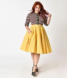 ca488f95ed 1950s Style Plus Size Mustard Yellow Cotton Circle Skirt Mustard Yellow  Skirts