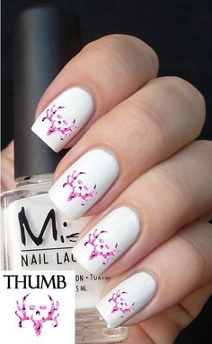 Pink Camo Deer Collector Nail Decals browning by DesignerNails, $3.95