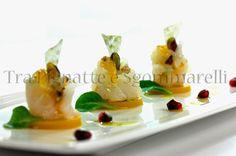 Boccioli di baccalà al crudo, arancia e pistacchi, con olio al finocchietto selvatico e arancia e gelée di mango | Tra pignatte e sgommarelli