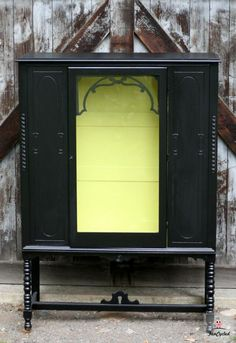 Black and Lime Green Inspiration – Tuesday's Treasures Black Furniture, My Furniture, Furniture Projects, Painted Furniture, Before And After Pictures, Lime, Tuesday, Hutch Ideas, Green China