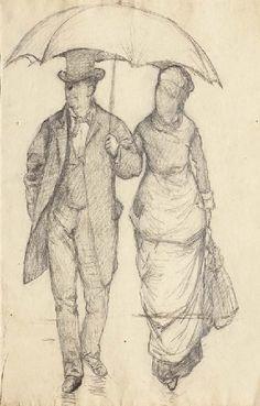 Gustave Caillebotte, Homme et femme sous un parapluie (Etude pour Rue de Paris, temps de pluie )