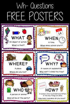 Set of 7 FREE classroom posters for teaching Wh- Questions (What, When, Where, W. Set of 7 FREE cl English Worksheets For Kids, English Lessons For Kids, Kids English, Preschool Classroom Setup, Classroom Language, Speech Therapy Activities, Language Activities, Teaching English Grammar, English Vocabulary