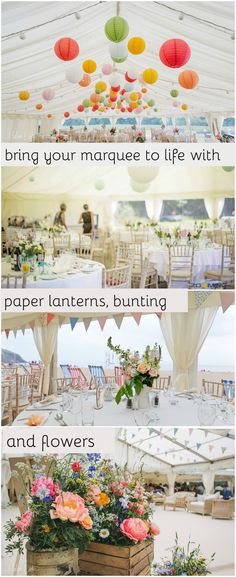 Bunting, Paper Lanterns and Flowers bring colour and atmosphere to a wedding marquee. Wedding Marquee Hire, Wedding Bunting, Rustic Wedding, Wedding Decorations, Outdoor Wedding Inspiration, Wedding Ideas, Marquee Decoration, Wedding Reception Layout, Cornish Wedding