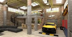 Perfect Underground Garage Design Made in Unique and Elegant Style: Powerful Rustic Style Home Living Room Underground Garage Design Yellow Car With Brick Wall Interior Decoration Ideas Finished