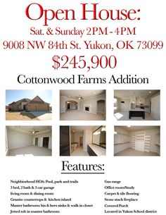 Open House out in Yukon, OK this weekend! Come check it out Sat & Sun. 2-4pm. Call me at: 405.888.6400 or message me for more details. Hoping to see some interested home buyers this weekend!