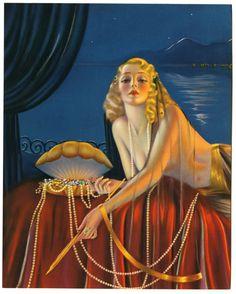 Billy Devorss Very kitchy. Vintage Ephemera, Vintage Cards, Vintage Postcards, Morgana Le Fay, Pin Up Illustration, Illustrations, Art Deco Paintings, Earl Moran, Great Artists