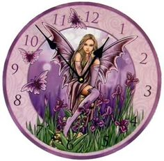 A wall clock featuring a fairy with wings spread perched atop a stump. Artwork by Lisa Parker. Takes 1 AA battery - not included. 11 1/2""