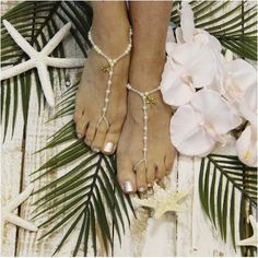 barefoot sandals - gold - starfish - boho - wedding foot jewelry - footless