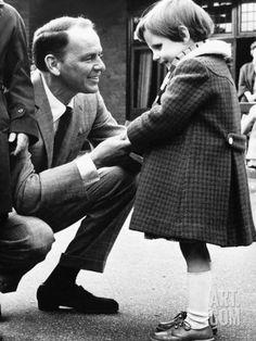 Singer Frank Sinatra Talking to Blind Girl at Visit to Sunshine Home For Blind at Northwood Photographic Print at Art.co.uk