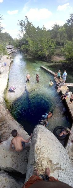 Jacob's Well in Wimberley, Texas. The severity of the drought is measured by divers going into Jacob's Well. Go to www.YourTravelVideos.com or just click on photo for home videos and much more on sites like this.