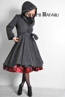 Charcoal Cashmere Wool Victorian Hooded Swing Coat
