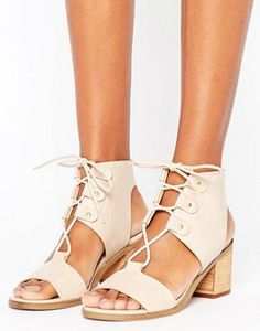 Glamorous Dusty Pink Tie Up Mid Block Heeled Sandals