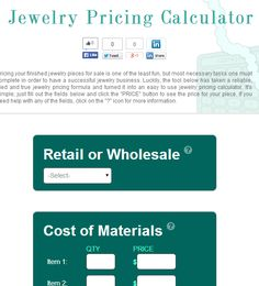 Free Jewelry Pricing Calculator. This is clever & would applicable to most crafts people to understand their costs