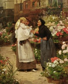 Victor-Gabriel Gilbert (French Academic Painter, 1847-1933) Offering a Flower to a Child