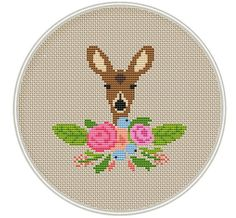 Deer cross stitch pattern Baby deer cross door MagicCrossStitch