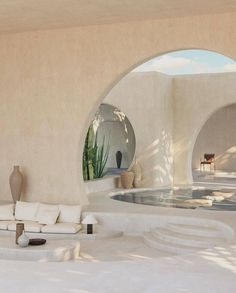 A home that co-exists with the environment, this desert villa is designed to bring the outside colours and textures into the interior creating an oasis like no other. - Collaboratively designed by and . Home Interior Design, Exterior Design, Interior Architecture, Interior And Exterior, Organic Architecture, Concrete Architecture, Arch Interior, Desert Homes, My Dream Home