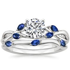 18K White Gold Willow Matched Set With Sapphire Accents from Brilliant Earth