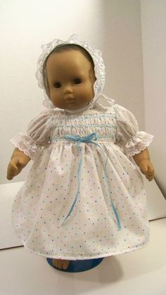 Bitty Baby Doll Clothes Smocked Dress Bonnet by fashioned4you
