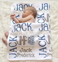 Personalized Baby Blanket Monogrammed Baby by monogrammarketplace