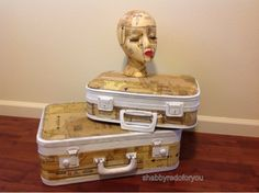 Shabby Redo For You : Vintage suitcases decoupaged with vintage sewing patterns -  I'd use tan/cream or brown paint instead of white