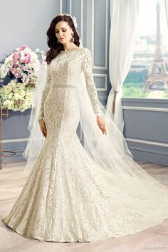 Dark Ivory Long Sleeve Alencon Lace Mermaid Wedding Gown Featuring Swarovski Crystal & Pearl Beading At  Neckline & Sash/Belt Detail At Natural Waist; by Moonlight Couture Fall 2015>>>>>>>>>>>>>>>>>>>>>>>