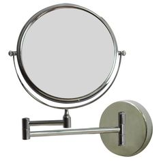 American Imaginations W Round Chrome Wall Mount Magnifying Makeup Mirror With Dual Zoom: It features a round shape. This magnifying mirror is designed to be installed as a wall mount magnifying mirror. It is constructed with brass-mirror. Round Brass Mirror, Round Mirrors, Leaning Mirror, Wall Mirror, Bathroom Mirrors, Magnifying Mirror, Wall Mounted Vanity, Vanities, Ideas