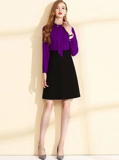 Fake Two Piece O-Neck Long Sleeve Fit Flare Dress