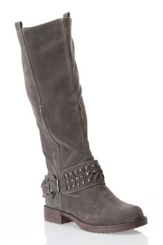 Knee High Studded Ankle Strap Moto Boot