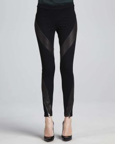 Love the Haute Hippie Leather-Panel Ponte Pants on Wantering | What's the Skinny | womens black skinny pants | womenswear | womens style | womens fashion | wantering http://www.wantering.com/womens-clothing-item/leather-panel-ponte-pants/agdWL/