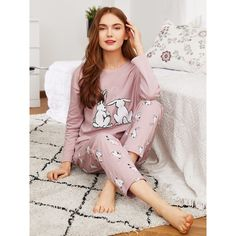 SheIn(sheinside) Rabbit Print Tee   Pants PJ Set ( 21) ❤ liked on Polyvore  featuring intimates 3a7bdd4c5