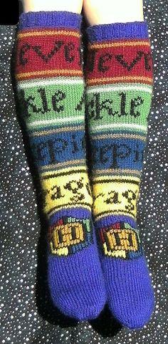 "Hogwarts Socks by Ann Kingstone (school motto ""Never tickle a sleeping dragon""). Pattern 4.00GBP on Ravelry at http://www.ravelry.com/patterns/library/hogwarts-socks"