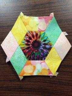 "Katja Marek's The New Hexagon - Millefiore Quilt-Along: Rosette 10b, block 37 ""Monette"" -- completed by Tracy Pierceall, 3/14/2016"